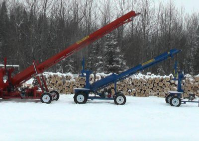 3 machines conveyor high 1 400x284 Overview Gallery, Firewood Splitter, Log Lift