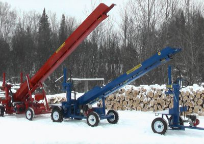 3 machines conveyor high 6 1 400x284 Overview Gallery, Firewood Splitter, Log Lift