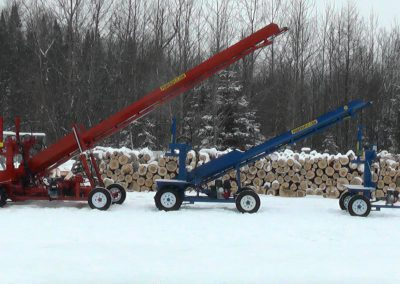 3 machines conveyor high 4 400x284 Overview Gallery, Firewood Splitter, Log Lift
