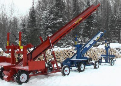 3 machines conveyor high 7 400x284 Overview Gallery, Firewood Splitter, Log Lift