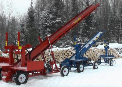 3 machines conveyor high 8 1 400x284 Overview Gallery, Firewood Splitter, Log Lift