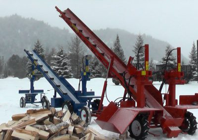 3 machines conveyor high 9 400x284 Overview Gallery, Firewood Splitter, Log Lift