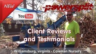 Coleman Nursery Review and Testimonial Wood Splitter Videos, Wood Splitter Reviews, Firewood