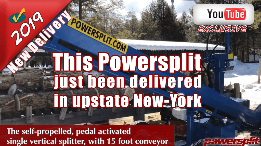 Wood splitter delivery in Upstate New York a brand new wood splitter self propelled with a 15 foot conveyor 1 1024x576 Wood Splitter Videos, Wood Splitter Reviews, Firewood